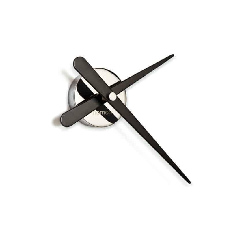 Kello Rodon mini L musta, Nomon kello, pelkistetty seinäkello. krominvärinen kello, kromi seinäkello