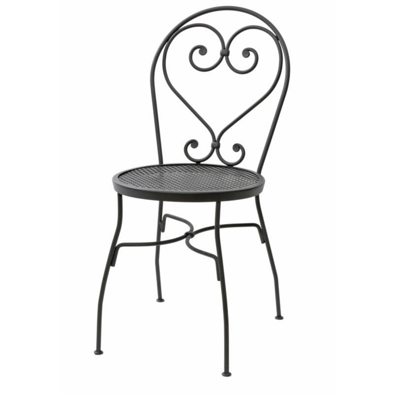 valurautatuoli, takorautatuoli, Takorautainen tuoli, harmaa metallituoli, pihatuoli, parveketuoli, maalaisromanttinen sisustus, sisustaminen, musta rautatuoli, musta takorautatuoli, harmaa takorautatuoli