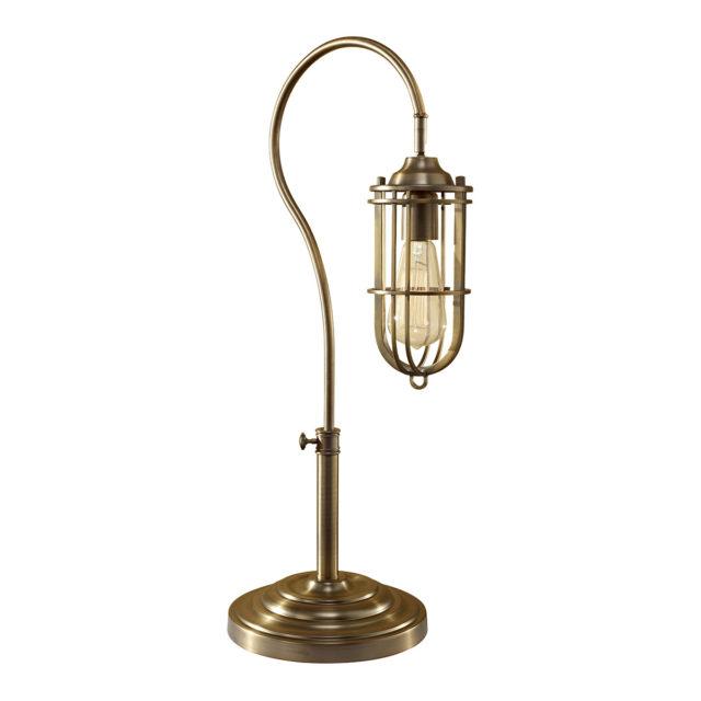 Teollisuustyylinen pöytälamppu antiikkimessinki