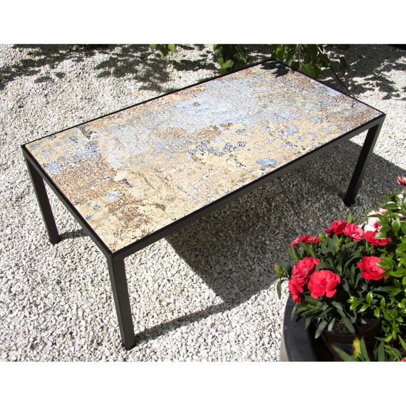 Musta pöytä, kivitaso, musta takorautapöytä, sohvapöytä, sivupöytä, laattapintainen pöytä